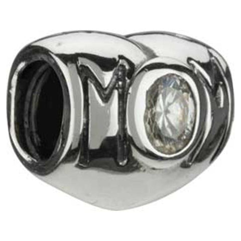 Silver Mom Heart Clear CZ Bead - Chamilia - Centerville C&J Connection, Inc.