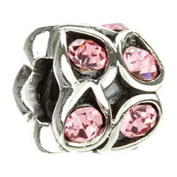 Silver w Stone - Paisley Rose - Pink Swarovski - Chamilia - Centerville C&J Connection, Inc.