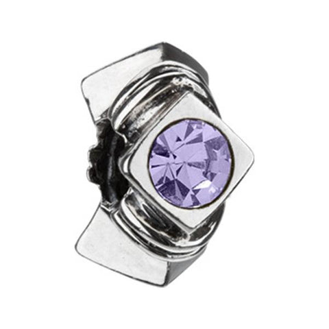 Silver Diamond Shape Purple CZ Bead - Chamilia - Centerville C&J Connection, Inc.