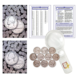Jefferson Nickel Starter Collection Kit, Part One, H.E. Harris [2679] Jefferson Nickel Folder Vol. 1, [2680] Folder Vol. 2, Ten Old Jefferson Nickels, Magnifier and Checklist, (14 Items) Great Start for Beginner Collectors - Centerville C&J Connection, Inc.