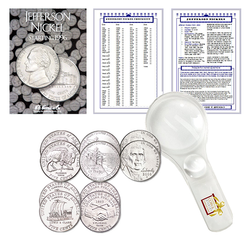 Jefferson Nickel Starter Collection Kit, Part Two, H.E. Harris Folder, Westward Journey Nickel Set, Magnifier & Checklist - Centerville C&J Connection, Inc.