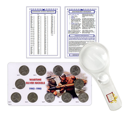 Jefferson Nickel Starter Collection Kit, Complete Wartime Silver Nickel Set, Magnifier and Checklist, (3 Items) Great Start for Beginner Collectors - Centerville C&J Connection, Inc.