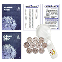 Jefferson Nickel Starter Collection Kit, Part One, Whitman [9009] Jefferson Nickel Folder Vol. 1, [9039] Folder Vol. 2, Ten Old Jefferson Nickels, Magnifier and Checklist, (14 Items) Great Start for Beginner Collectors - Centerville C&J Connection, Inc.