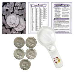 Kennedy Half Dollar Starter Collection Kit, Part One, H.E. Harris [2696] Kennedy Half Dollar Folder Vol. 1, Five Silver Kennedy Halves, Magnifier and Checklist, (8 Items) Great Start for Beginner Collectors - Centerville C&J Connection, Inc.