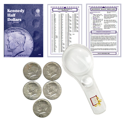 Kennedy Half Dollar Starter Collection Kit, Part One, Whitman [9699] Kennedy Half Dollar Folder Vol. 1, Five Silver Kennedy Halves, Magnifier and Checklist, (8 Items) Great Start for Beginner Collectors - Centerville C&J Connection, Inc.