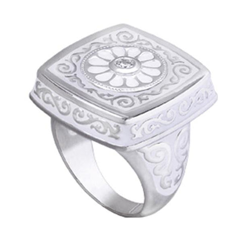 Square Scrolled Enamel Ring - Kameleon Jewelry - Centerville C&J Connection, Inc.