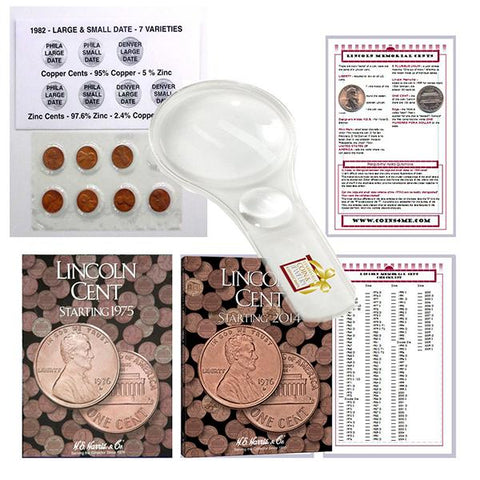 Lincoln Penny Starter Collection Kit with 1982 Varieties, Two H.E. Harris Folders, Magnifier & Checklist - Centerville C&J Connection, Inc.
