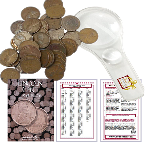 Lincoln Wheat Penny Cent Starter Collection Kit, Part One, H.E. Harris [2671] Lincoln Cent Folder Vol. 1, Roll of Wheat Cents, Magnifier and Checklist, Great Start for Beginner Collectors - Centerville C&J Connection, Inc.