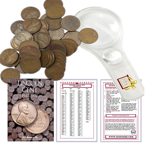Lincoln Wheat Penny Starter Collection Kit, Part Two, H.E. Harris Folder, Roll of Wheat Cents, Magnifier & Checklist - Centerville C&J Connection, Inc.