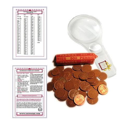 Lincoln Wheat Penny Cent Starter Collection Kit, 50 Wheat Cents [Roll] Magnifier & Checklist - Centerville C&J Connection, Inc.