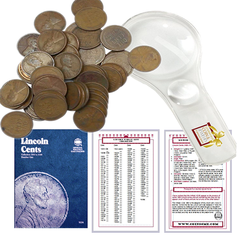 Lincoln Wheat Penny Starter Collection Kit, Part One, Whitman Folder, Roll of Wheat Cents, Magnifier & Checklist - Centerville C&J Connection, Inc.