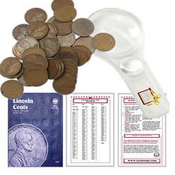 Lincoln Wheat Penny Starter Collection Kit, Part Two, Whitman Folder, Roll of Wheat Cents, Magnifier & Checklist - Centerville C&J Connection, Inc.