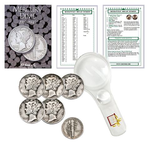 Mercury Dime Starter Collection Kit, H.E. Harris [2683] Mercury Dime Folder 1916-1945, Five Mercury Head Dimes, Magnifier and Checklist, (8 Items) Great Start for Beginner Collectors - Centerville C&J Connection, Inc.