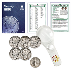 Mercury Dime Starter Collection Kit, Whitman [9014] Mercury Dime Folder 1916-1945, Five Mercury Head Dimes, Magnifier & Checklist - Centerville C&J Connection, Inc.