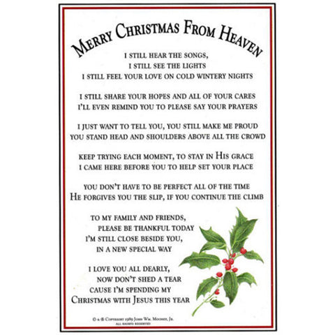 Mooney TunCo Merry Christmas from Heaven Bookmark - Centerville C&J Connection, Inc.