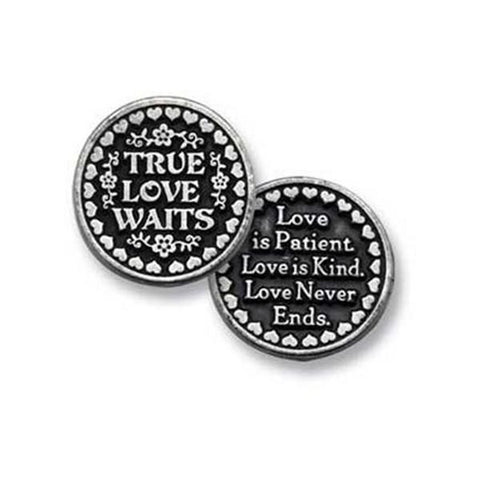 True Love Waits Pewter Pocket Token PT137 - Centerville C&J Connection, Inc.