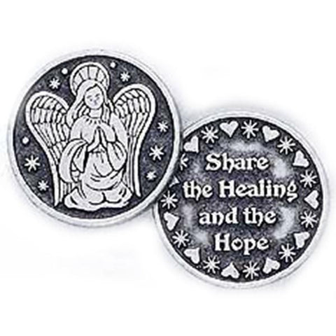 Share The Healing Angel Pewter Pocket Token PT173 - Centerville C&J Connection, Inc.