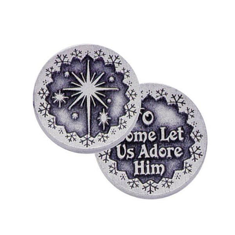 O Come Let Us Adore Him Pewter Pocket Token PT190 - Centerville C&J Connection, Inc.
