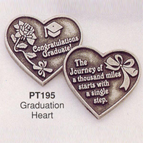 Graduation Heart Pewter Pocket Token - Centerville C&J Connection, Inc.
