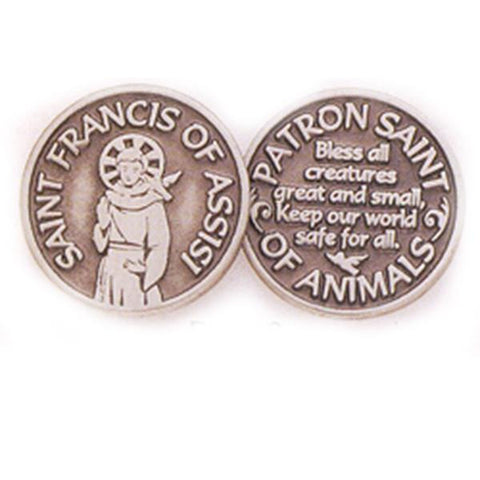 Saint Francis Of Assisi Pewter Pocket Token PT408 - Centerville C&J Connection, Inc.