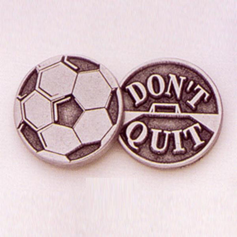 Soccer/ Don't Quit Pewter Pocket Piece - Centerville C&J Connection, Inc.