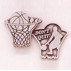 Basketball / Don't Quit Pewter Pocket Token PT455 - Centerville C&J Connection, Inc.