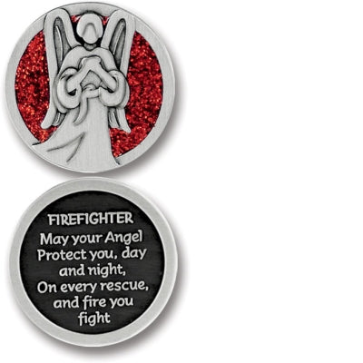 Firefighter Angel Enameled Companion Coin / Pocket Token PT640 - Centerville C&J Connection, Inc.