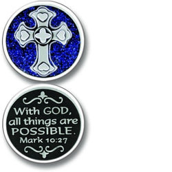 With God Enameled Companion Coin / Pocket Token PT660 - Centerville C&J Connection, Inc.
