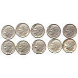 Silver Roosevelt Dime Starter Collection Kit, Ten Circulated Silver Roosevelt Dimes, Magnifier & Checklist - Centerville C&J Connection, Inc.