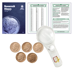 Roosevelt Dime Starter Collection Kit, Part One, Whitman [9029] Roosevelt Dime Folder Vol. 1, Five Silver Dimes, Magnifier & Checklist - Centerville C&J Connection, Inc.