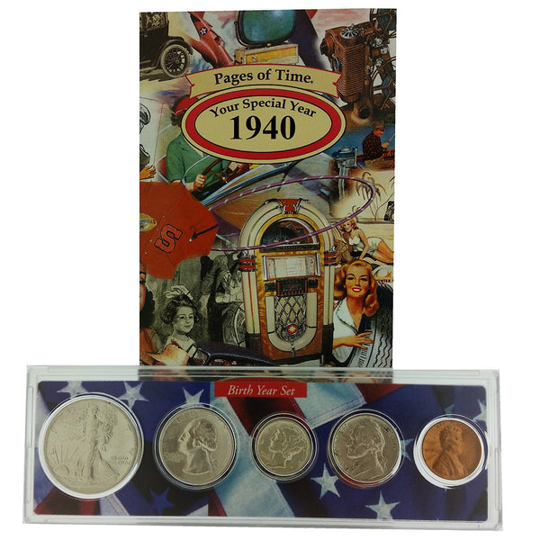 1940 Year Coin Set & Greeting Card : 77th Birthday or 77th Anniversary Gift