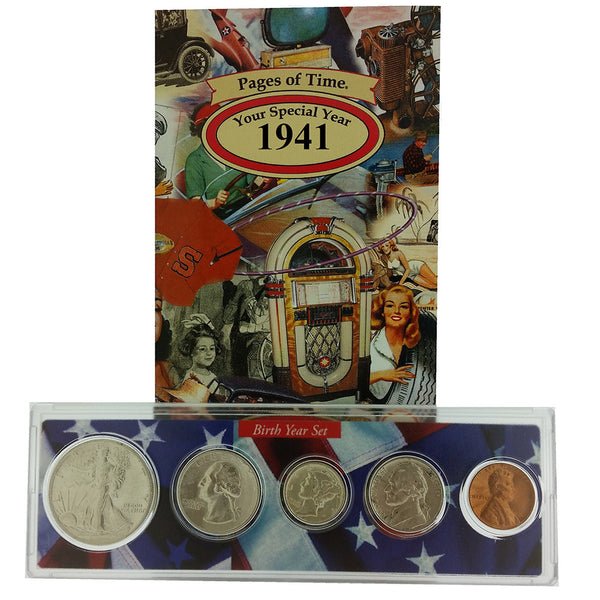1941 Year Coin Set & Greeting Card : 76th Birthday or 76th Anniversary Gift