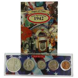 1942 Year Coin Set & Greeting Card : 75th Birthday or 75th Anniversary Gift