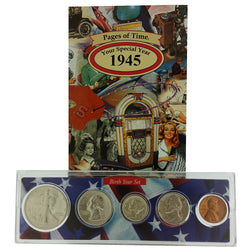 1945 Year Coin Set & Greeting Card : 76th Birthday or 76th Anniversary Gift - Centerville C&J Connection, Inc.