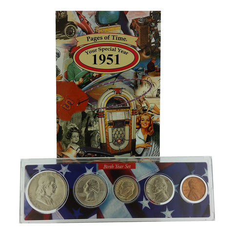 1951 Year Coin Set & Greeting Card : 66th Birthday or 66th Anniversary Gift