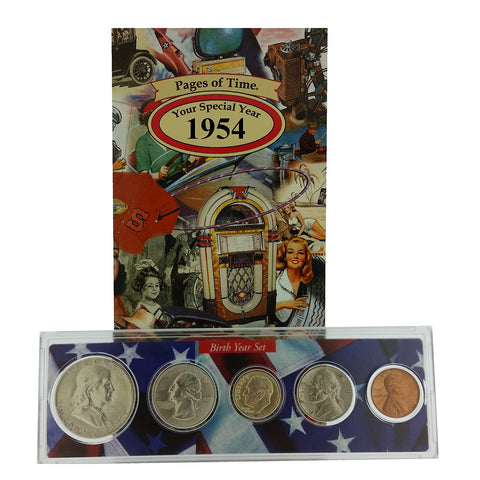 1954 Year Coin Set & Greeting Card : 63rd Birthday or 63rd Anniversary Gift
