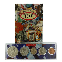 1955 Year Coin Set & Greeting Card : 62nd Birthday or 62nd Anniversary Gift