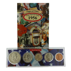 1956 Year Coin Set & Greeting Card : 61st Birthday or 61st Anniversary Gift