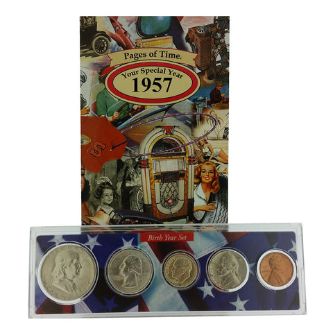 1957 Year Coin Set & Greeting Card : 60th Birthday or 60th Anniversary Gift