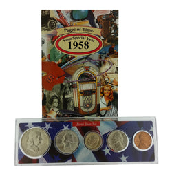 1958 Year Coin Set & Greeting Card : 59th Birthday or 59th Anniversary Gift