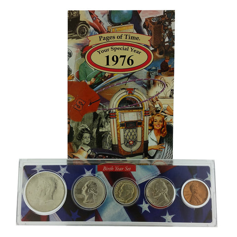 1976 Year Coin Set & Greeting Card : 41st Birthday or 41st Anniversary Gift