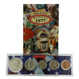 1977 Year Coin Set & Greeting Card : 40th Birthday or 40th Anniversary Gift