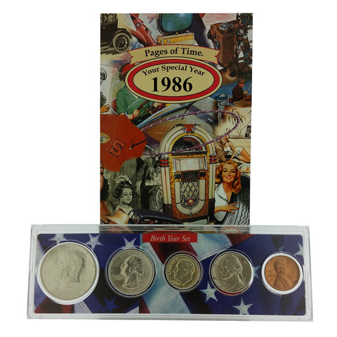 1986 Year Coin Set & Greeting Card : 31st Birthday or 31st Anniversary Gift