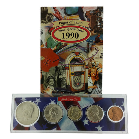 1990 Year Coin Set & Greeting Card : 27th Birthday or 27th Anniversary Gift