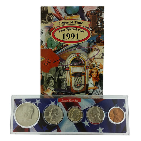 1991 Year Coin Set & Greeting Card : 26th Birthday or 26th Anniversary Gift