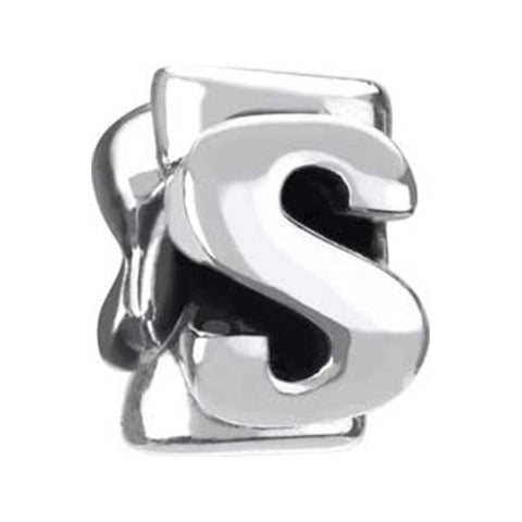 "Silver Bead - Letter ""S"" - Chamilia - Centerville C&J Connection, Inc."