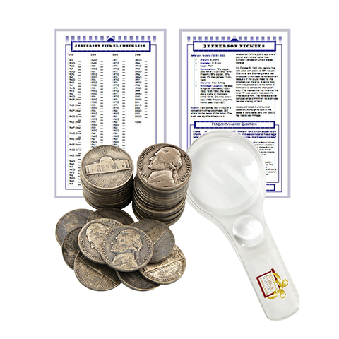 Wartime Nickel Starter Collection Kit, One Roll of Silver Jefferson Nickels [40 Coins] Magnifier & Checklist - Centerville C&J Connection, Inc.