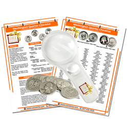 Silver Washington Quarter Starter Collection Kit, Ten Circulated Silver Washington Quarters, Magnifier & Checklist - Centerville C&J Connection, Inc.