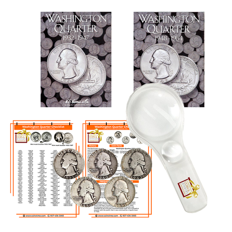 Washington Quarter Starter Collection Kit, Part One, H.E. Harris [2688] Washington Quarter Folder Vol. 1, [2689] Folder Vol. 2, Five Silver Quarters, Magnifier and Checklist, (9 Items) Great for Beginners - Centerville C&J Connection, Inc.