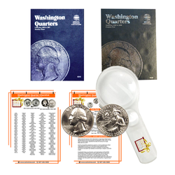 Washington Quarter Starter Collection Kit, Part Two, Whitman [9040] Washington Quarter Folder Vol. 3, [9038] Folder Vol. 4, 1776-1976 P & D Bicentennial Quarters, Magnifier & Checklist - Centerville C&J Connection, Inc.